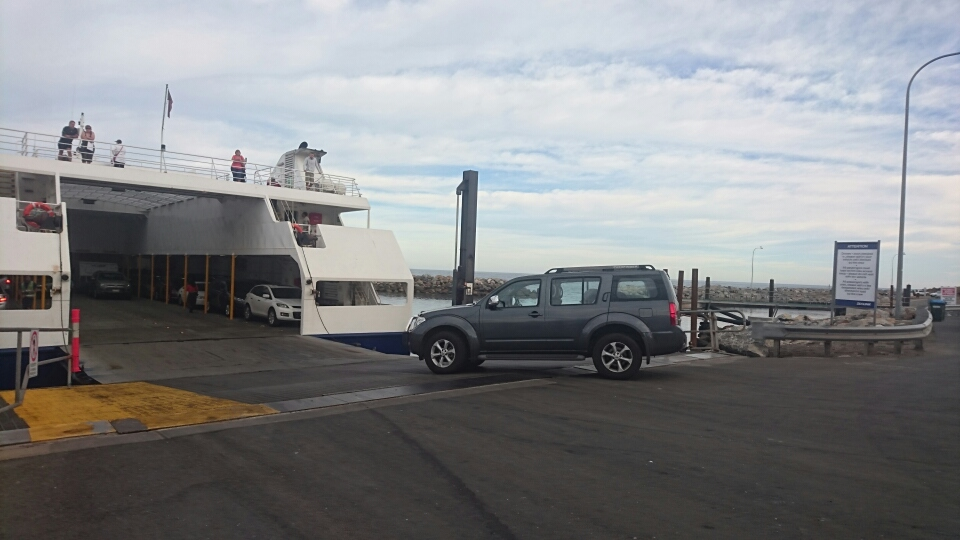 Loading the car onto the ferry
